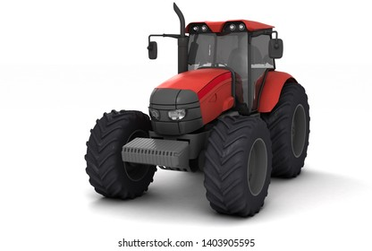 Red agricultural wheel tracktor isolated on white background. Front side view. Perspective. Left side. Eye level. 3D render.