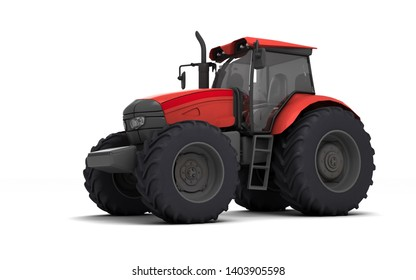 Red agricultural wheel tracktor isolated on white background. Front side view. Perspective. Left side. Low angle view. 3D render.