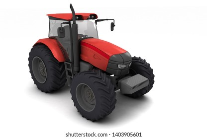 Red agricultural wheel tracktor isolated on white background. Front side view. Perspective. Left side. High angle view. 3D render.