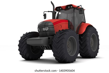 Red agricultural wheel tracktor isolated on white background. Front side view. Perspective. Left side. Low angle. Bottom view 3D render.