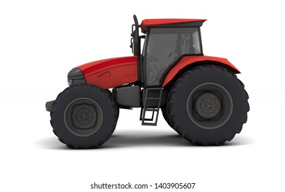 Red agricultural wheel tracktor isolated on white background. Side view. Left side. Low angle view. 3D render.