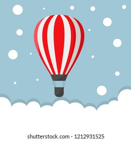 Red Air balloon. Startup or freedom concept, Raster illustration