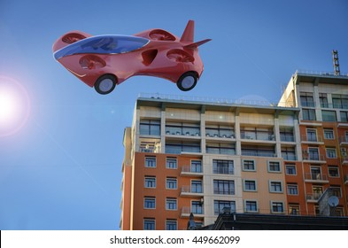 Red Air Car Flying In The City, Flying High-speed Vehicle Of The Future, Futuristic Vehicle, Air Car Concept - 3D Rendering