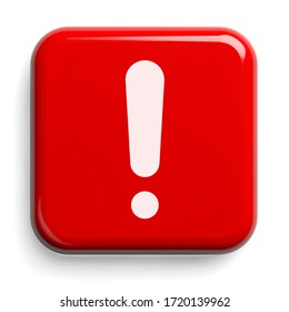 Red Alarm Button Isolated on White. Clipping path included. 3D illustration.