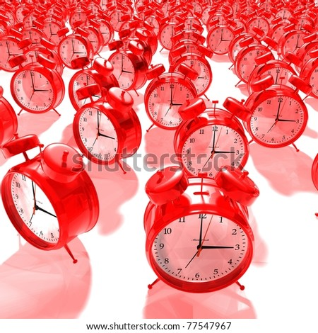 red alarm clock group - 3D render
