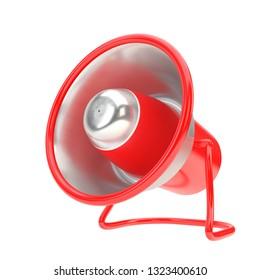 Red Alert Concept megaphone. Inox steel and red metal speaker horn. 3D illustration Successful business element