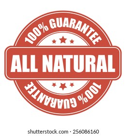 red all natural 100% guarantee icon, tag, label, badge, sign, sticker isolated on white