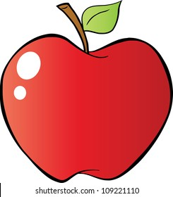 Red Apple In Gradient. Raster Illustration.Vector version also available in portfolio