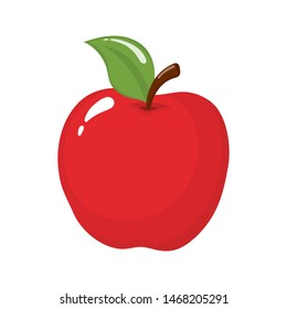 Red apple isolated on white background. Organic fruit. Cartoon style. Illustration for any design.