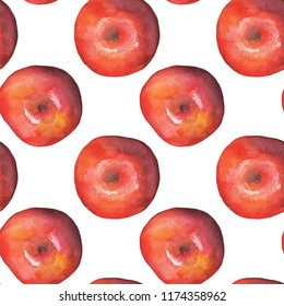 Red apple on white background  seamless pattern. Watercolor apple pattern for textile or wrapping paper. Autumn season harvest fruit. Red apple  illustration. Seasonal fruit apple package design