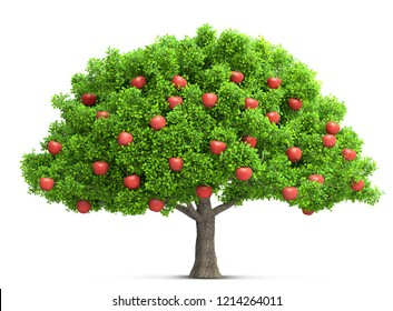 red apple tree isolated 3D illustration