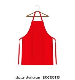 Red apron 3d rendering isolated on a white background