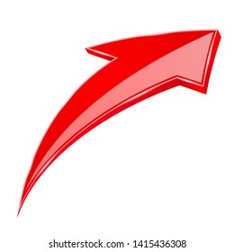 Red UP arrow. 3d illustration isolated on white background. Raster version