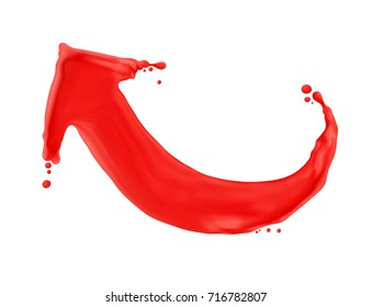 Red arrow made of a splash of paint, isolated on white background