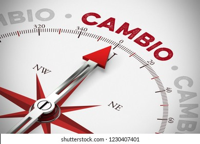 Red arrow on a compass points to the Spanish word Cambio (change) (3D Rendering)