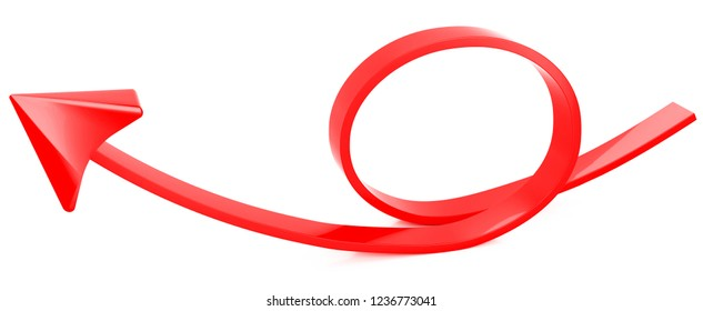 Red arrow on white background.3d illustration