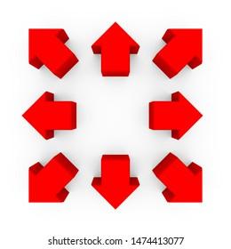 Red Arrows 3D Illustration Set. Modern Design for branding, poster, cover, economics and infographics.