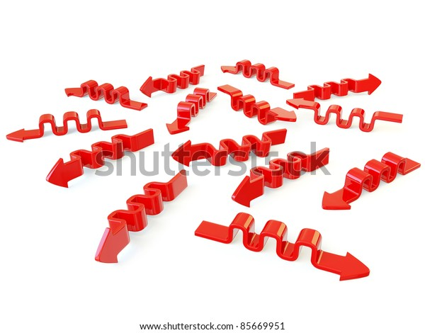 red arrows isolated on a white background