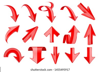 Red arrows set. 3d web UP and DOWN icons. Illustration isolated on white background. Raster version