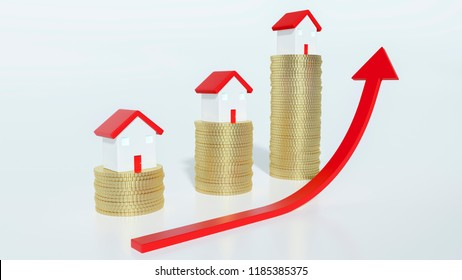 Red ascending arrow in front of three tiny scale model houses sitting on top of three gold coins stacks