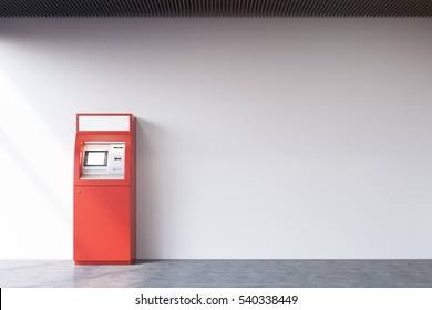 Red ATM machine standing near a concrete wall. Concept of monetary operations. 3d rendering. Mock up