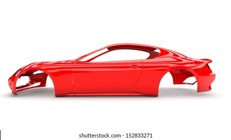 Red back body car with no wheel, engine,interior