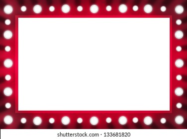 Red Back stage Light Mirror with White Space Background Frame. Illustration layout.
