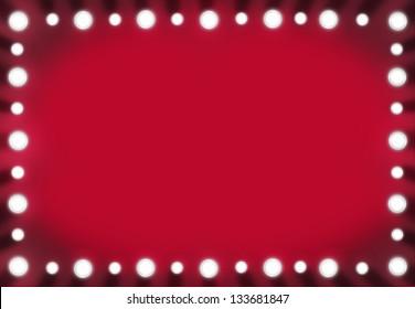 Red Back stage Light Mirror Background Frame. Illustration layout