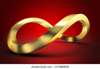 red background and 3d infinity golden icon