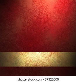 red background with black vignette framing outside border with sunny highlight center, deep vintage grunge texture, gold ribbon stripe layout design, copy space, for Christmas or valentine's day