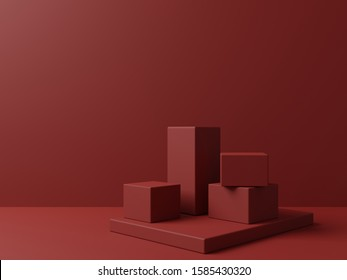 Red background with geometric shape podium for product. 3D Rendering. Christmas theme.