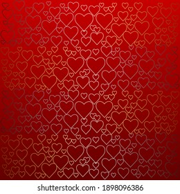 Red background with gold and silver hearts