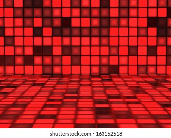 Red Background with random illuminated Squares