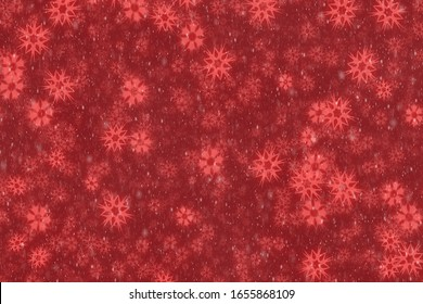 Red background with snowflakes.Christmas illustration background with snow.