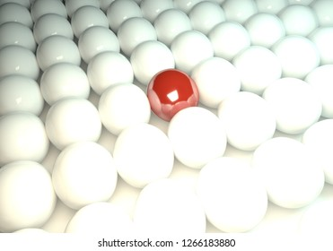Red ball in between many white balls, 3d rendering