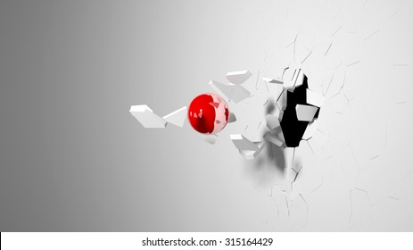 Red ball destroying a white wall.