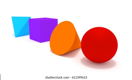 red ball orange cylinder purple box and blue pyramid