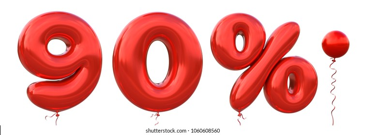 Red balloon 9, 0, %, Dot made of realistic metallic air balloon 3d rendering. Collection of brilliant balloons number with Clipping path ready to use for your unique decoration in several concept idea