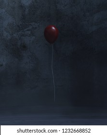 Red balloon in a dark room,3d rendering