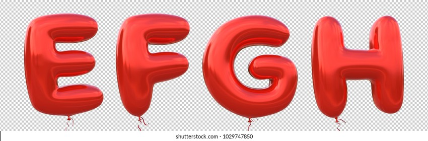 Red balloon font E,F,G,H made of realistic metallic air balloon 3d rendering. Collection of brilliant balloons alphabet with Clipping path ready to use for your unique decoration in several occasion