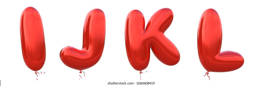 Red balloon font I,J,K,L made of realistic metallic air balloon 3d rendering. Collection of brilliant balloons alphabet with Clipping path ready to use for your unique decoration in several occasion