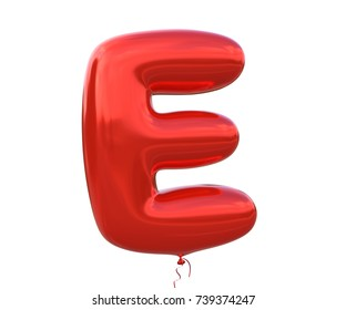 Red balloon font letter E made of realistic helium red balloon, 3d illustration with Clipping Path ready to use. For your unique balloon letter decoration; Christmas, New year and several occasion.