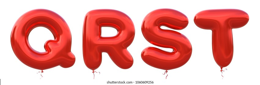 Red balloon font Q,R,S,T made of realistic metallic air balloon 3d rendering. Collection of brilliant balloons alphabet with Clipping path ready to use for your unique decoration in several occasion