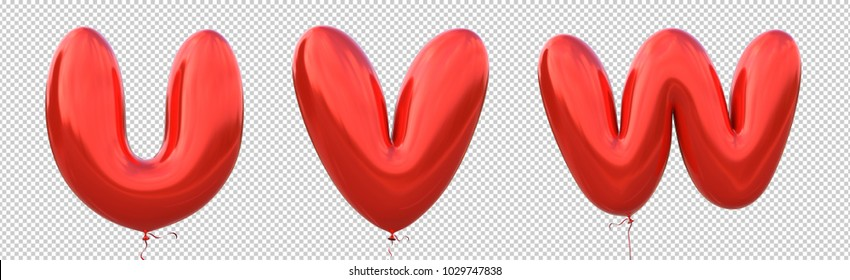 Red balloon font U,V,W made of realistic metallic air balloon 3d rendering. Collection of brilliant balloons alphabet with Clipping path ready to use for your unique decoration in several occasion