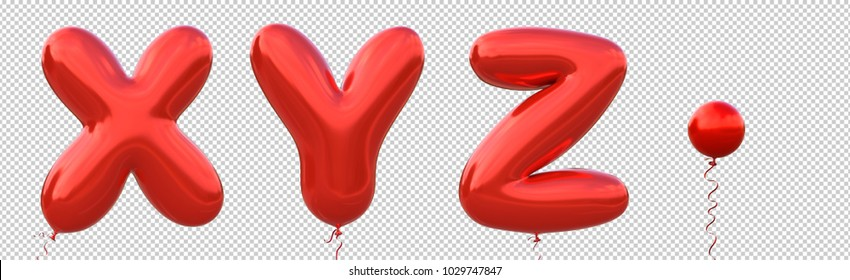 Red balloon font X,Y,Z,Dot made of realistic metallic air balloon 3d rendering. Collection of brilliant balloons alphabet with Clipping path ready to use for your unique decoration in several occasion