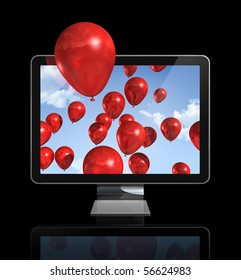 red balloons in a 3D tv screen isolated on black with clipping path