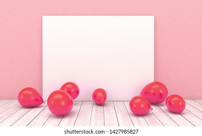 Red balloons with empty white board on red wall background and wooden floor. Concept for children's playroom,game room,nursery,school, party and meeting in 3d rendering,3d illustration.
