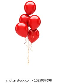 Red baloons with gold ribbons isolated on white background. 3D illustration of celebration, party baloons