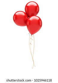 Red baloons isolated on white background. 3D illustration of celebration, party baloons