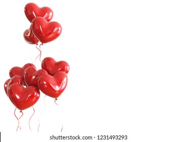 red baloons with red ribbons on left sight isolated on white background. 3D illustration of Valentine's day, February 14, love. Romantic wedding greeting card.Women's, Mother's day.